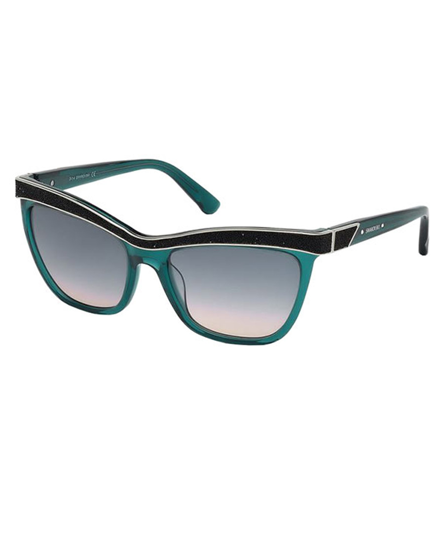 teal & black angular sunglasses Sale - swarovski