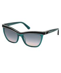 teal & black angular sunglasses