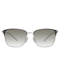 Silver-tone & green sunglasses