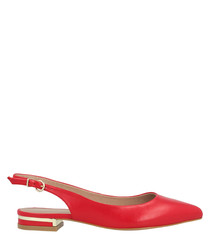 Red leather slingback flats