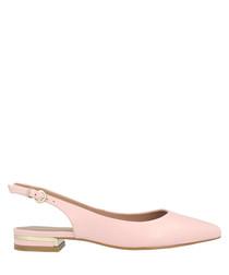 Pale pink leather slingback flats