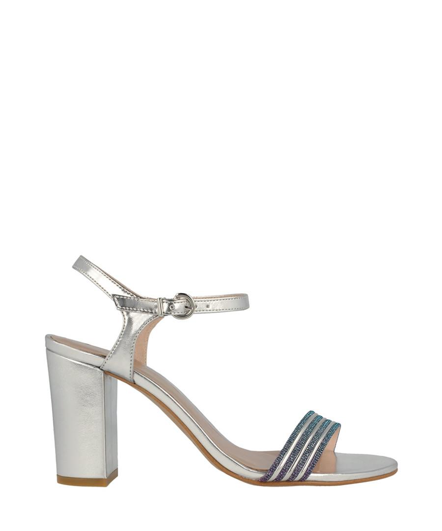 Silver-tone stripe sandal heels Sale - roberto botella