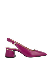 berry leather mid slingbacks