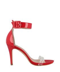 Red ankle strap mid heels