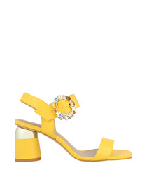 Yellow leather block heel sandals