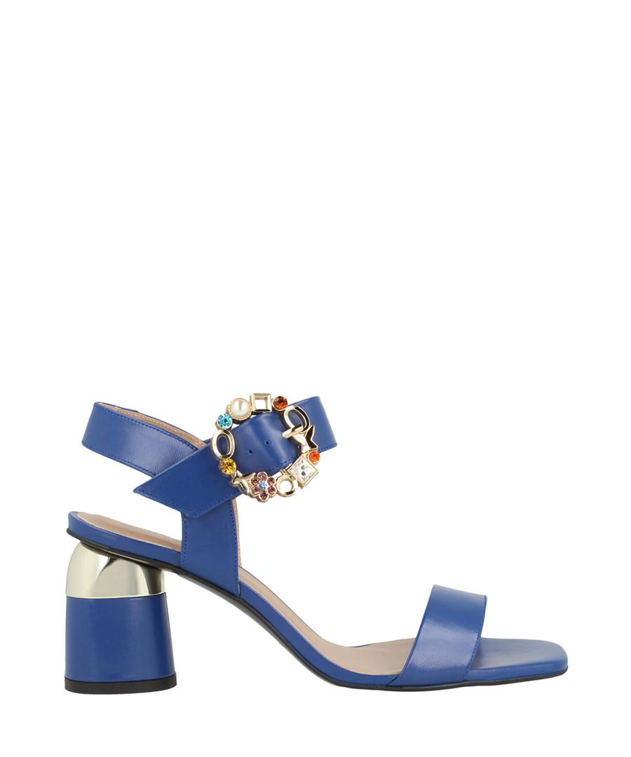 Navy leather block heel sandals Sale - roberto botella