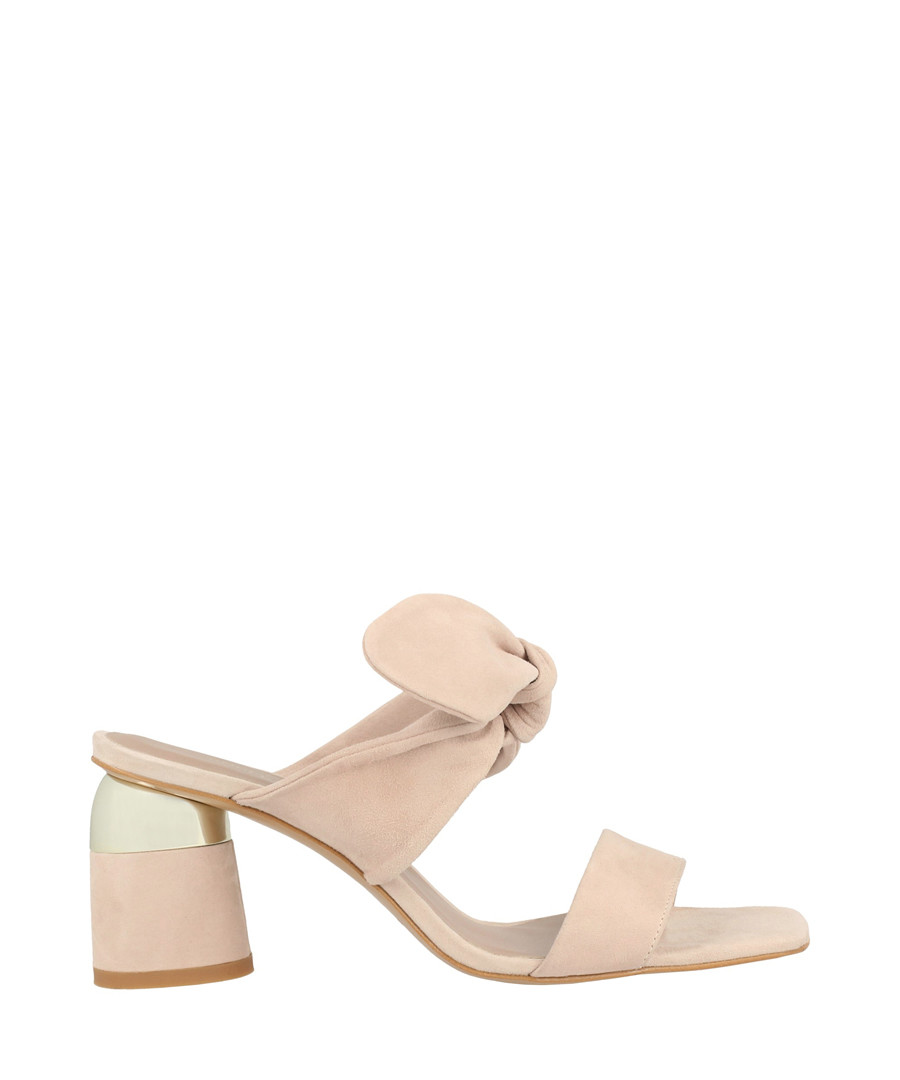 Pale pink leather tie mules Sale - roberto botella