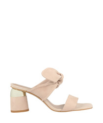 Pale pink leather tie mules