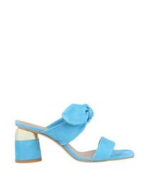 Sky blue leather tie mules