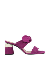 Plum leather tie mules