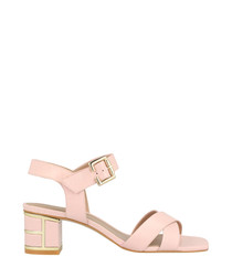 Pale pink leather mid heel sandals