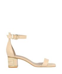 Beige leather mid heel sandals