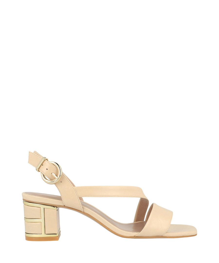 Beige leather crossover sandals Sale - roberto botella