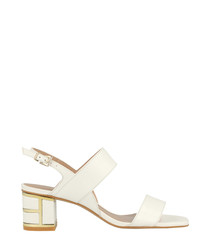 White leather crossover sandals