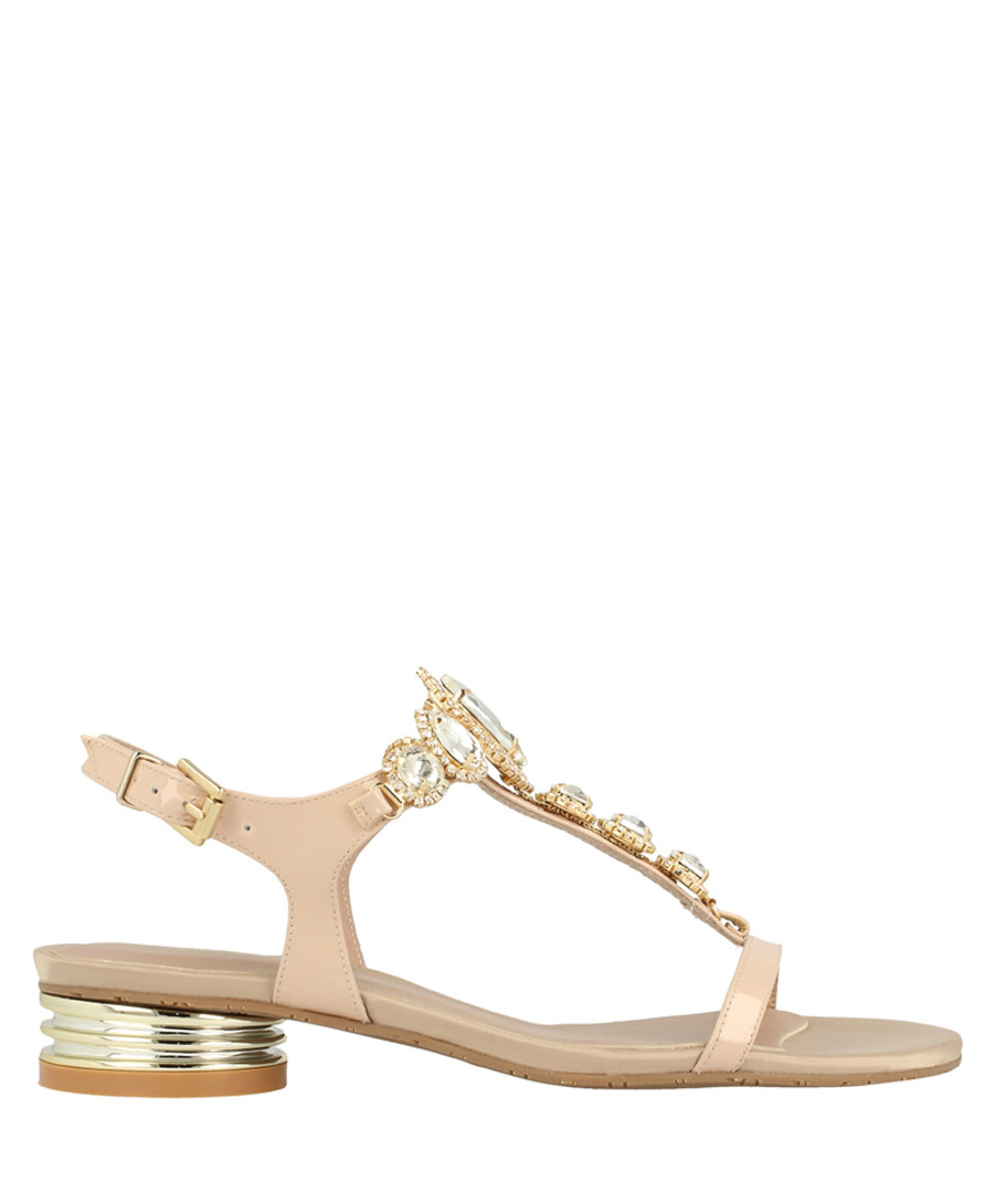 Beige leather T-bar low sandals Sale - roberto botella