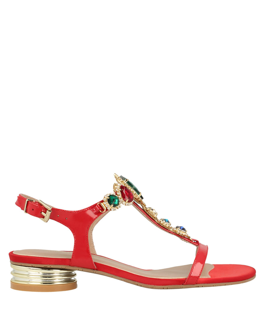 red leather T-bar low sandals Sale - roberto botella