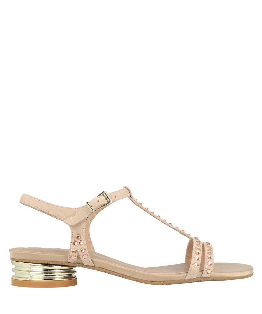 old rose leather T-bar low sandals Sale - roberto botella