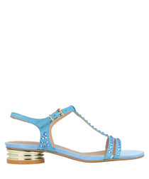 sky leather T-bar low sandals