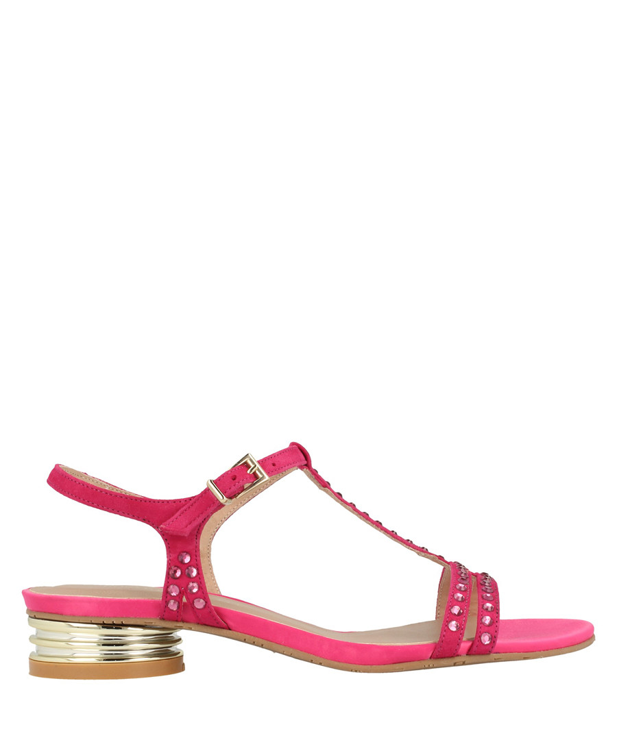 fuchsia leather T-bar low sandals Sale - roberto botella