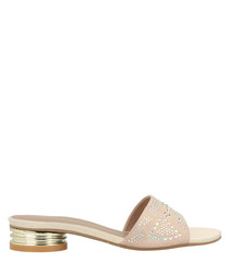 beige leather embellished low mules