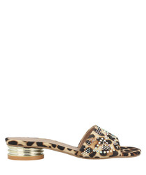 leopard print fabric low mules