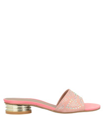 pink leather low mules