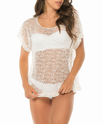 Ivory sheer patterned T-shirt