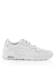 RS-350 Optic white leather trim sneakers