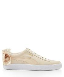 Bow Varsity beige suede sneakers