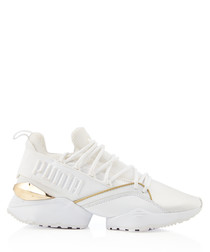 MUSE MAIA VARSITY white knit sneakers