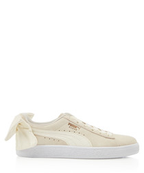 Bow chalk suede sneakers