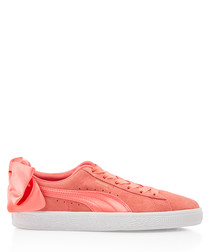 Bow pink suede sneakers