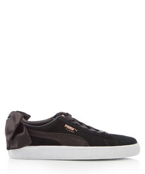 Bow black suede sneakers