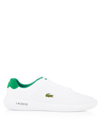 Avance white & green perforated sneakers