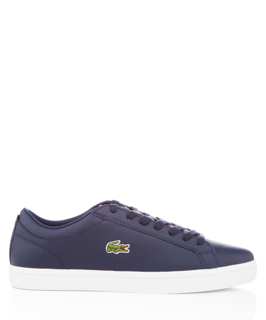 Straightset navy leather sneakers Sale - lacoste