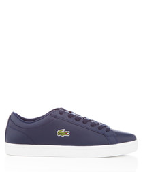 Straightset navy leather sneakers