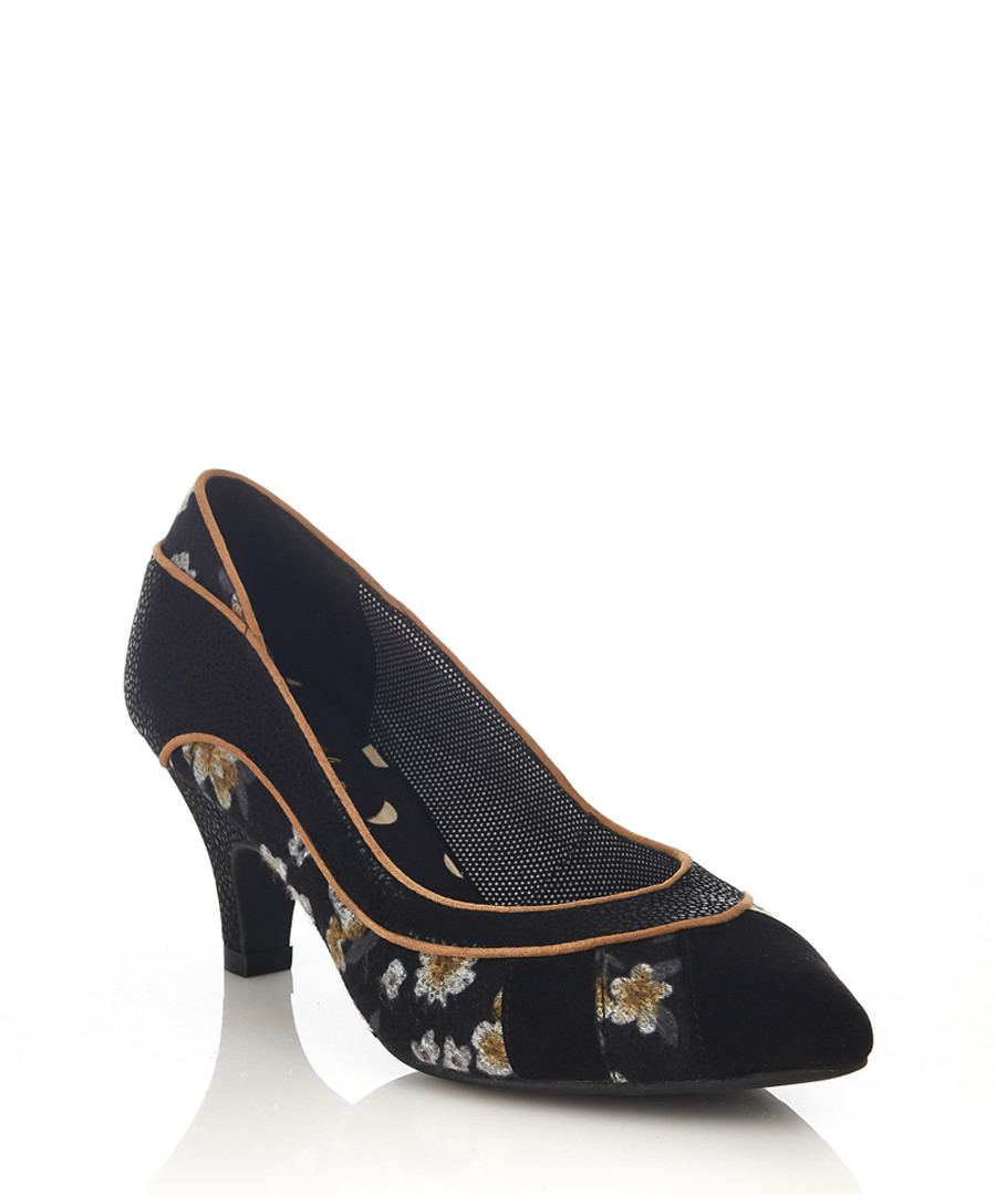 Daphne black floral court heels Sale - ruby shoo