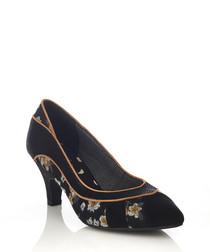 Daphne black floral court heels