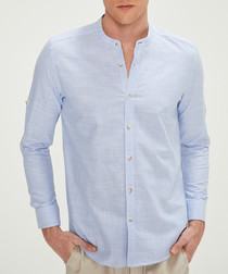 Pale blue pure cotton bar collar shirt