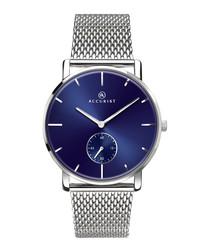 Silver-tone & blue steel watch