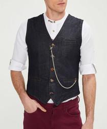 navy cotton chain waistcoat