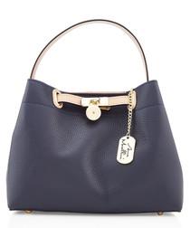 Navy leather metal logo handbag