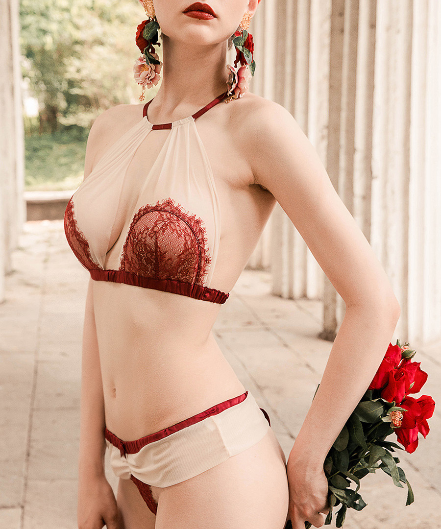 Nude & red lace keyhole lingerie set Sale - both young