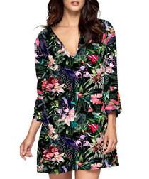 Arcadia dark floral 3/4 sleeve kaftan