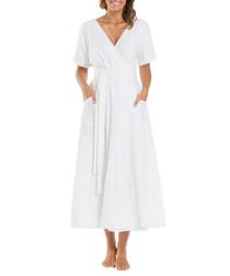 Resort white linen blend wrap maxi dress