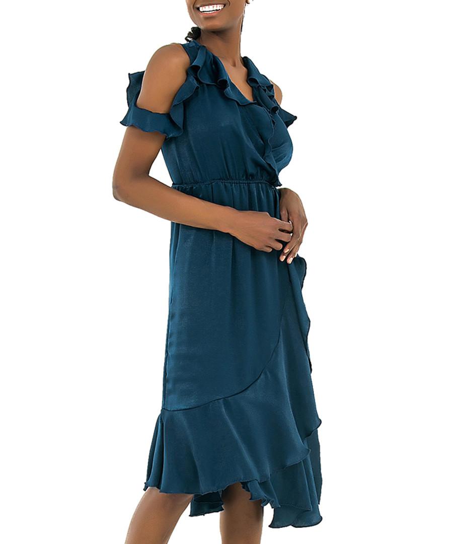 Navy ruffle cold-shoulder dress Sale - zibi london