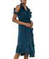 Navy ruffle cold-shoulder dress Sale - zibi london Sale