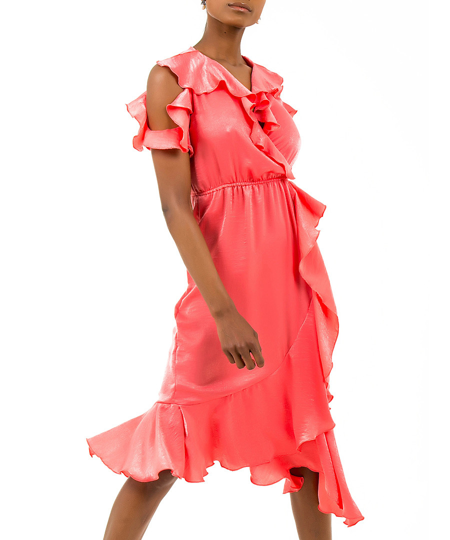 Coral ruffle cold-shoulder dress Sale - zibi london