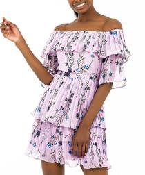 Lilac floral tiered pleat mini dress