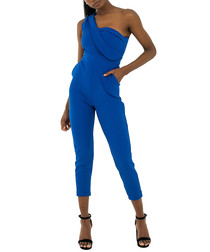 Blue one-shoulder jumpsuit